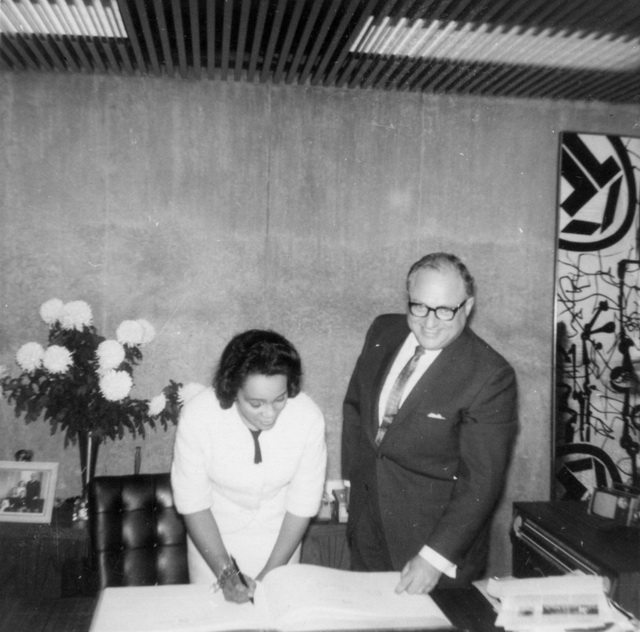 Mayor Givens (right) hosting Mrs  Coretta Scott King (left) at City Hall, 1966  Photo by Ben Nobleman courtesy of the Ontario Jewish Archives, Fonds 51, Series 4 6, File 75
