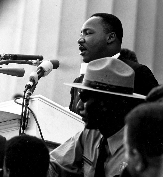 Martin Luther King, Jr  speaking during the March on Washington, August 28, 1963  Photo from the National Archives and Records Administration via Wikimedia Commons