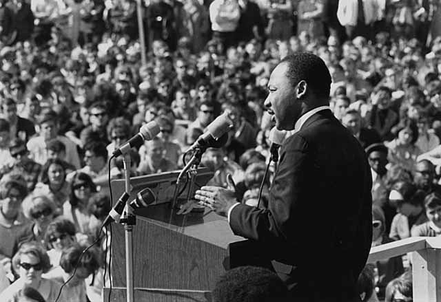 Martin Luther King, Jr  speaking at the University of Minnesota, April 27, 1967  Photo from the Minnesota Historical Society via Wikimedia Commons
