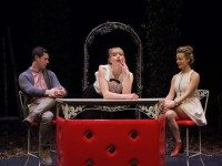 Noah Reid, Anna Hardwick, and Karen Knox in the opening scene of A Woman Is A Secret. Photo by John Gundy.