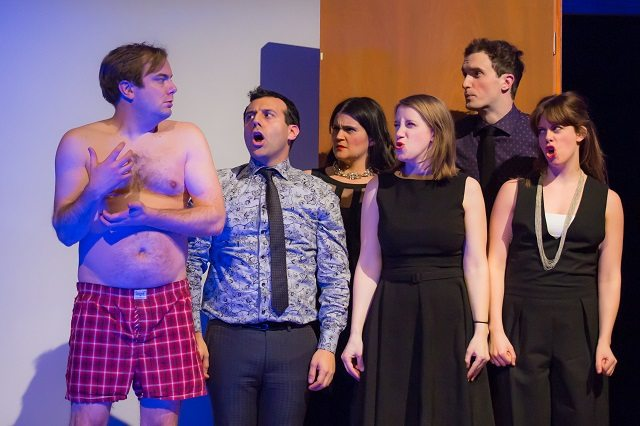 The Second City's How To Kill a Comedian stars, left to right, Kevin Whalen, Etan Muskat, Ashley Botting, Leigh Cameron, Kyle Dooley, and Kirsten Rasmussen  Photo by Racheal McCaig.