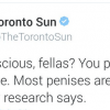 Screenshot of the Toronto Sun Twitter account during the mayor's online chat.