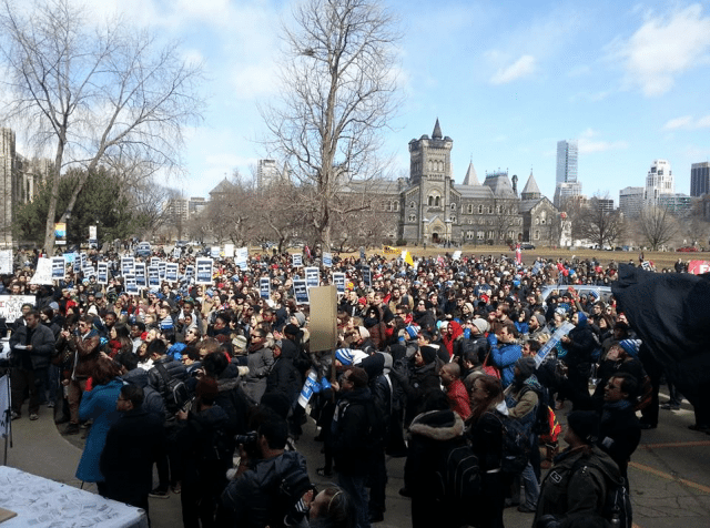 A snapshot of yesterday's student walkout, courtesy of CUPE 3902