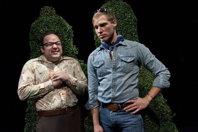 Michael De Rose (left) and Nathaniel Bacon share the stage with some phallic shrubbery in Sky Gilbert's My Dinner With Casey Donovan  Photo by Seanna Kennedy