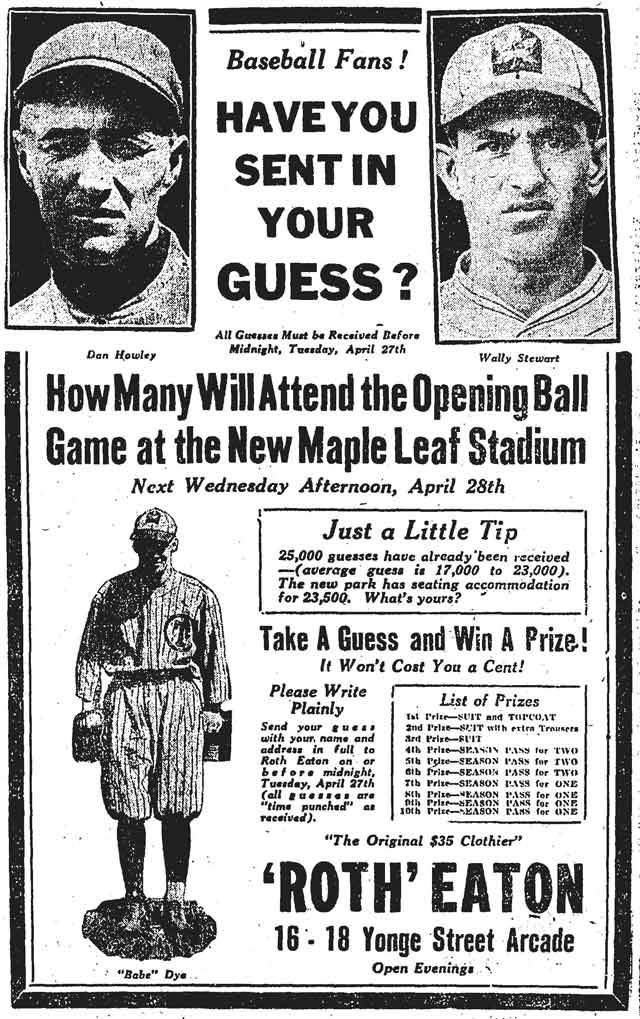 Source: the April 26, 1926  Note presence of Babe Dye in this ad, who concurrently had a Hall of Fame hockey career, mostly with ice Maple Leafs and their predecessor, the St  Patricks