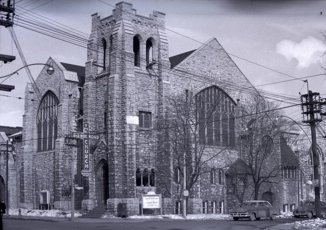 The Avenue Road Church, at the northeast corner of Avenue Road and Roxborough Street, 1954  Detail from photo by James V  Salmon from the Toronto Public Library Digital Collection
