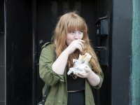 Author Monica Heisey, caught in a romantic moment with her second true love, burritos.