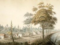 Detail from watercolour of York, Upper Canada (1804) by Elizabeth Frances Hale. From the Library and Archives Canada (1970-188-2092).