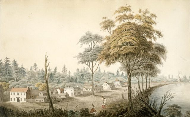 Detail from watercolour of York, Upper Canada (1804) by Elizabeth Frances Hale  From the Library and Archives Canada (1970 188 2092)