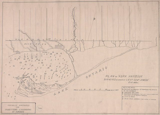 Plan of York Harbour surveyed by Alexander Aitken in 1793  Copy created for Robertson's Landmarks of Toronto  From the Toronto Public Library Digital Collection