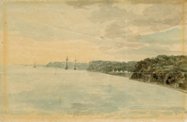 Watercolour of York, looking west to the Queen's Rangers camp at foot of Bathurst Street, by Elizabeth Simcoe (July 30, 1793)  From the Toronto Public Library Digital Collection