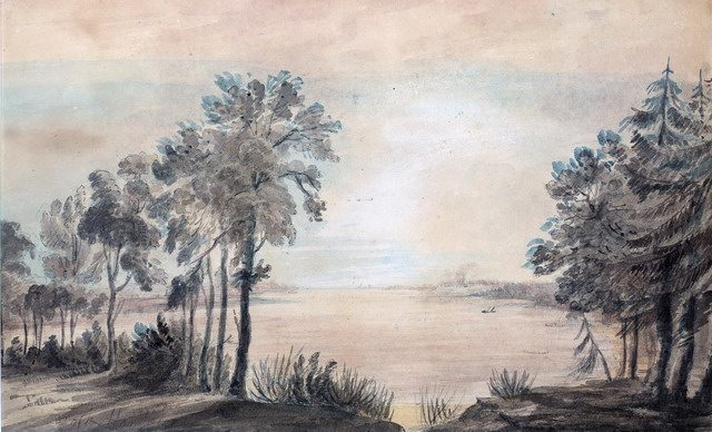 Watercolour of York Harbour, ca  1793, looking west from mouth of the Don River, by Elizabeth Simcoe  From the Toronto Public Library Digital Collection