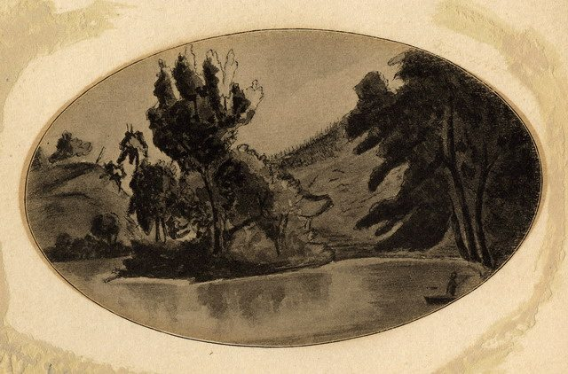Wash drawing of the Credit River from a drawing by Elizabeth Simcoe in 1796  From the Toronto Public Library Digital Collection