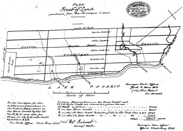 Plan of the Tract of Land purchased from the Mississauga Indians, Surveyor General's Office, January 22, 1820  From Canada, Indian Treaties and Surrenders from 1680 to 1890 (Brown Chamberlain, Queen's Printer, 1891)