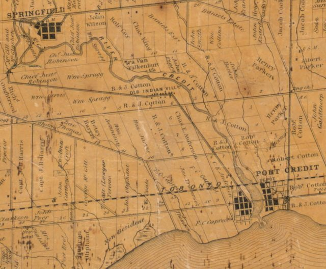 Detail from Tremaine's Map of the County of Peel, Canada West, 1859, showing the old Credit Village between the Credit River and Mississauga Road  From the University of Toronto Map & Data Library