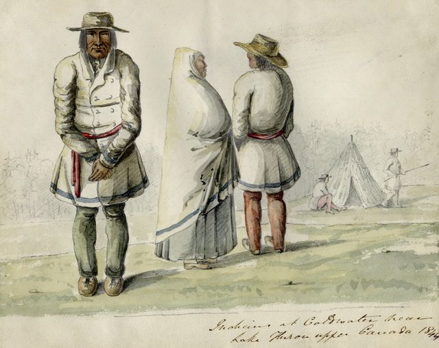 Pencil and watercolour sketch of Anishinabeg (Ojibwe) people at Coldwater in Simcoe County by T  Hibbert Ware, 1844  The residents at the Credit village would have dressed similarly  From the Toronto Public Library Digital Collection