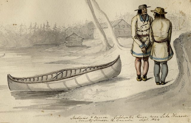 Pencil and watercolour sketch of Anishinabeg (Ojibwe) people in Simcoe County by T  Hibbert Ware, 1844  The residents at the Credit village would have dressed similarly  From the Toronto Public Library Digital Collection