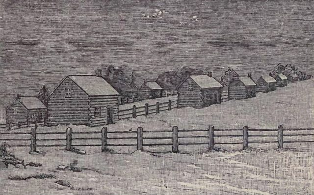 Sketch of the Credit Village as it appeared in the winter of 1827  From Egerton Ryerson's The Story of My Life (W  Briggs, 1883)