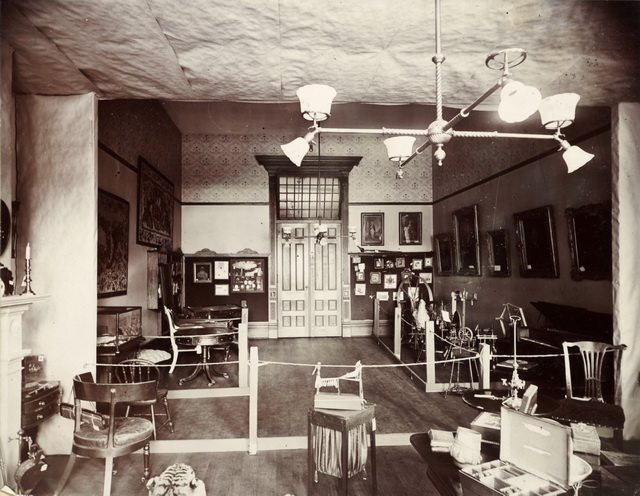 Furniture Room at the Canadian Historical Exhibition, Victoria College, 1899  From the Toronto Public Library's Digital Collection