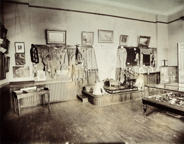 Indian Room at the Canadian Historical Exhibition, Victoria College, 1899  From the Toronto Public Library's Digital Collection