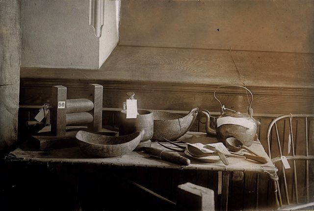Table belonging to John Graves Simcoe and kitchen utensils displayed at the Canadian Historical Exhibition, 1899  From the Toronto Public Library's Digital Collection
