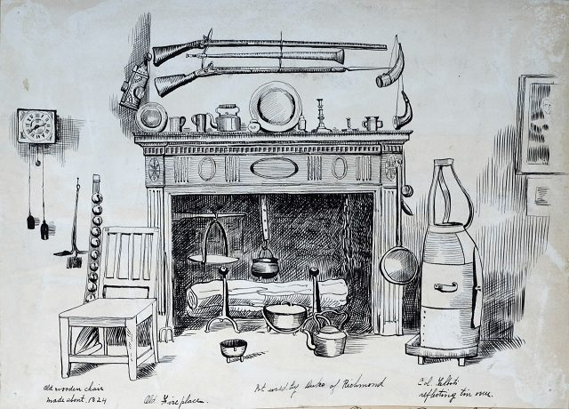 Owen Staples' sketch of an oven belonging to Colonel Talbot and a pot used by the Duke of Richmond, at the Canadian Historical Exhibition, 1899  From the Toronto Public Library's Digital Collection