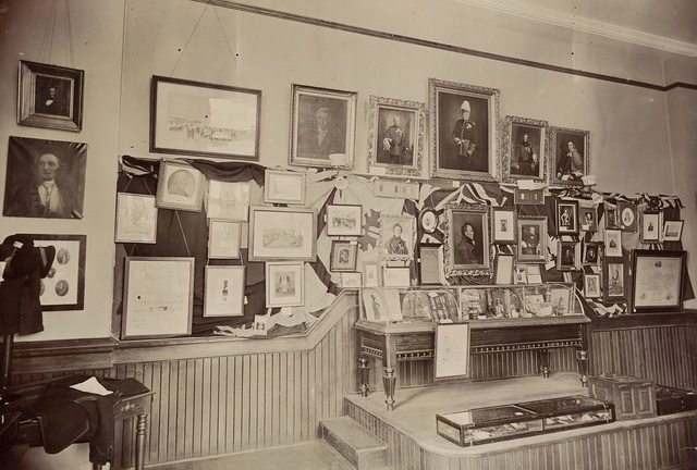 Military Room at the Canadian Historical Exhibition, Victoria College, 1899  From the Toronto Public Library's Digital Collection