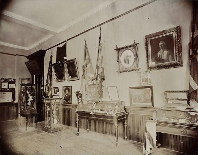 The second Military Room at the Canadian Historical Exhibition, Victoria College, 1899  From the Toronto Public Library's Digital Collection