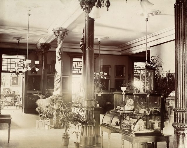 Entrance hall to the Canadian Historical Exhibition, Victoria College, 1899  From the Toronto Public Library's Digital Collection