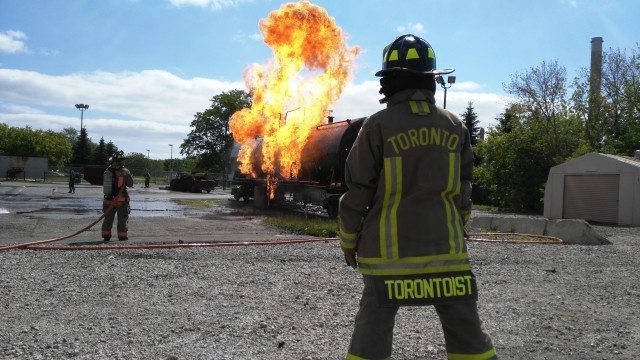 Torontoist reporter watches a tanker burn  Photo by David Hains
