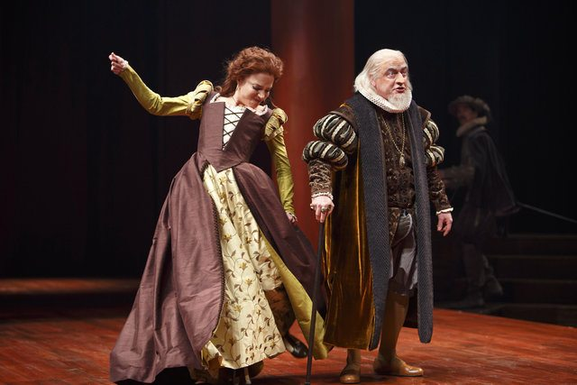 Deborah Hay as Katherina and Michael Spencer Davis as Gremio in The Taming of the Shrew  Photo by David Hou