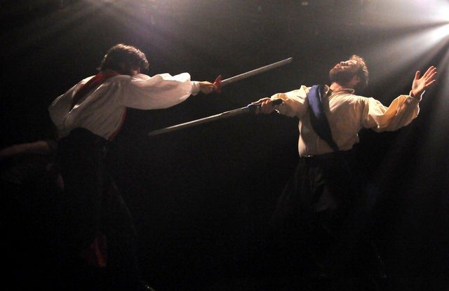 Seann Murray and Conor Bradbury duel in Swordplay: A Play of Swords  Photo by Cindy Lopez