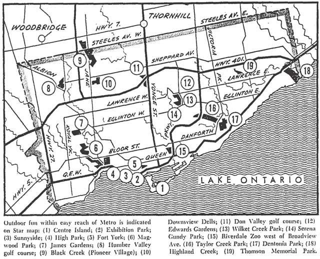 A map spotlighting recreational spots around Metro, including some of the parks under the direction of Tommy Thompson  Toronto Star, May 6, 1967