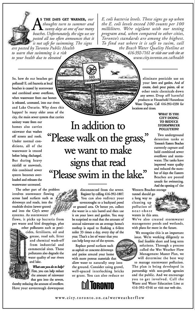 The impact of the sign's message lives on, as seen in this ad promoting other municipal environmental efforts  Globe and Mail, May 31, 2002