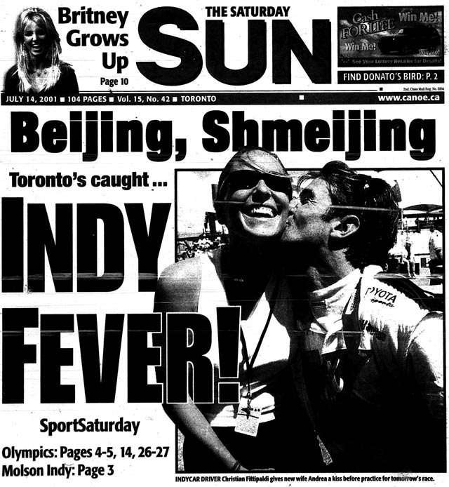 Front page, Toronto Sun, July 14, 2001