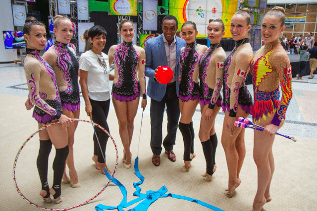The Canadian rhythmic gymnastics team. Photo by Jeremy Gilbert from the Torontoist Flickr Pool