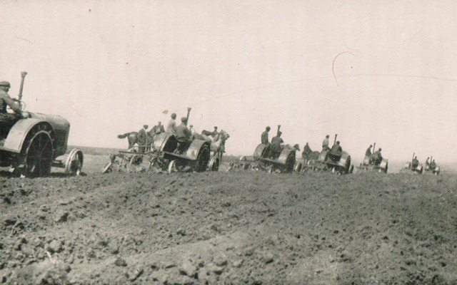 Tractors at work on a collective farm, from William Henry Chamberlin, Russia's Iron Age (Little, Brown and Company, 1934)