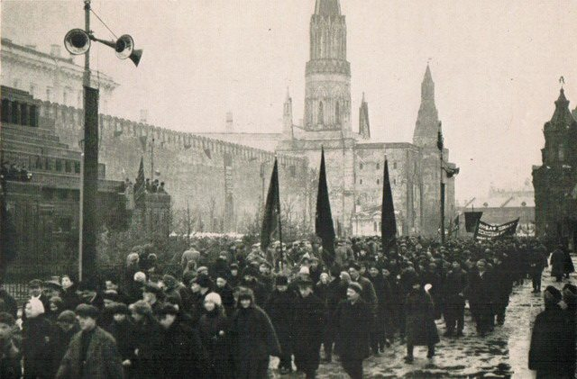 May Day demonstration passing Lenin's Tomb from William Henry Chamberlin, Soviet Russia—A Living Record and a History (Little, Brown and Company, 1930)