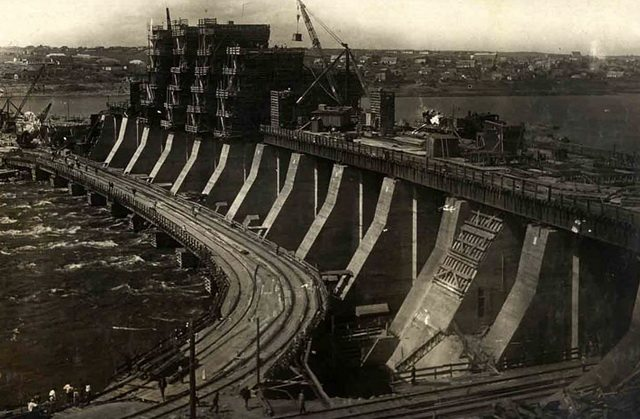DnieproGES under construction in the U S S R , 1934  From Wikimedia Commons