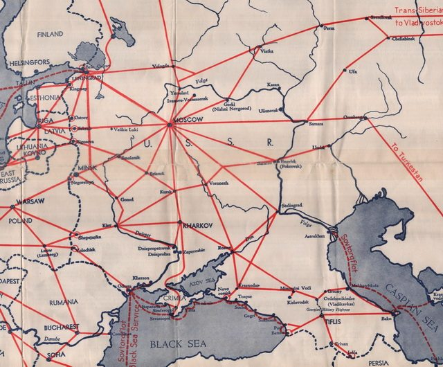 Detail from Intourist map of the U S S R , showing railway connections, 1933  From the University of Toronto Maps Library