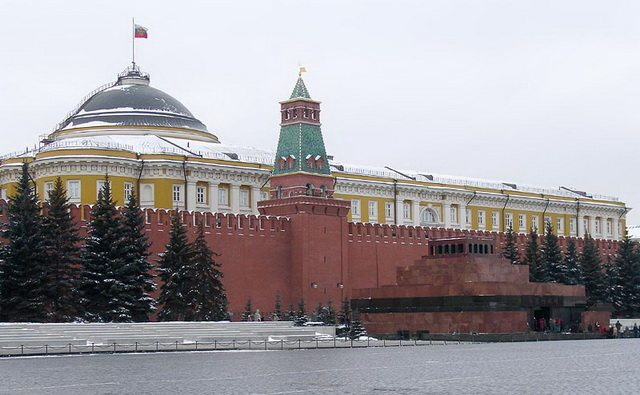 Photo of mausoleum in Red Square, Moscow, March 2007, by NVO  From Wikimedia Commons