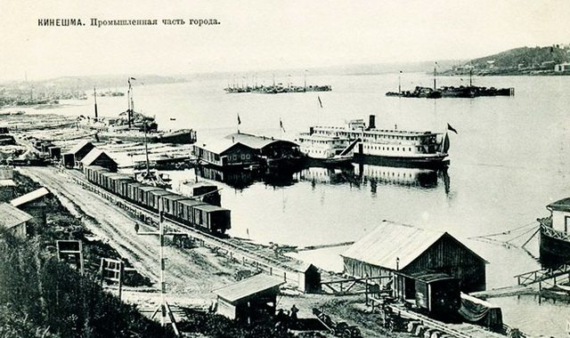Steamboat and rail connection on Volga River at Kineshma, 1900  From Wikimedia Commons
