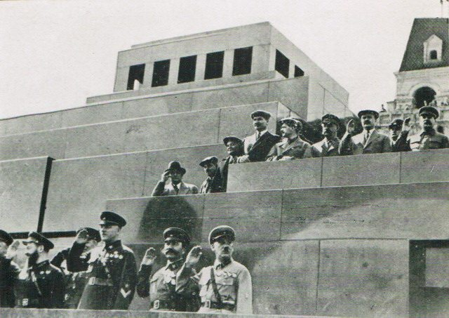 Stalin (right) watches parade from Lenin's Tomb in Red Square, Moscow, from Frederick Griffin, Variety Show (Macmillan Company of Canada Limited, 1936)