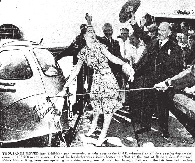 At last, Barbara Ann Scott and Mackenzie King smash the bottle! Toronto Star, August 23, 1947