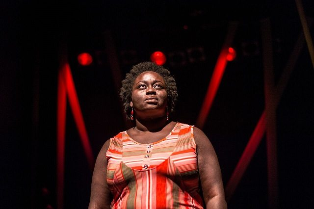 Akosua Amo Adem portrays a housemaid from Ghana dealing with sketchy Canadian employers in Andrea Scott's drama Better Angels: A Parable. Photo by Dahlia Katz