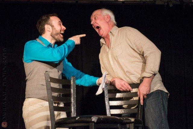 Actor M  John Kennedy faces off with improviser Colin Mochrie at a past Mixed Company show  Photo by Dahlia Katz
