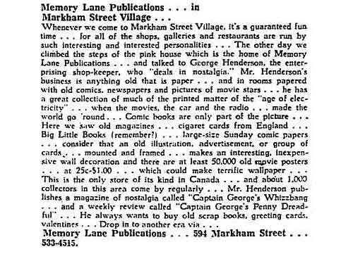 Advertorial by Mary Walpole about Memory Lane, Globe and Mail, April 16, 1970