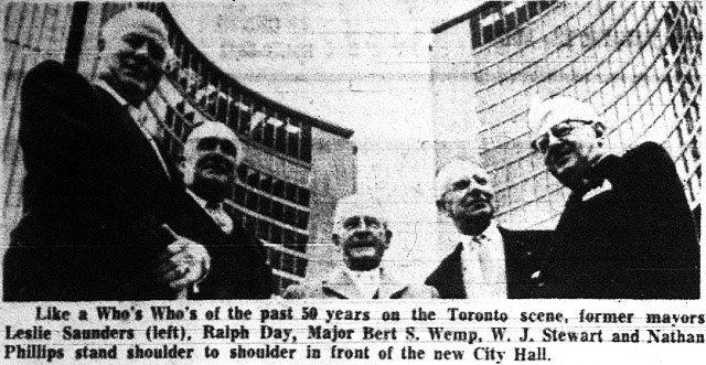 The living former mayors on hand for the ceremony (Allan Lamport refused to come, while Hiram McCallum was out of town on business)  The Telegram, September 14, 1965
