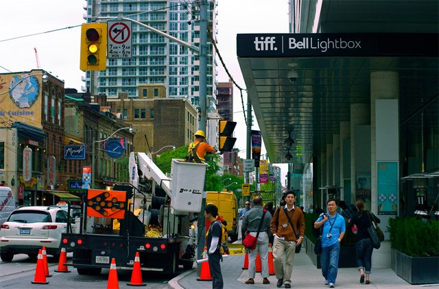 Getting ready for the opening of the TIFF Bell Lightbox, September 12, 2010 Photo by Asianz from the Torontoist Flickr Pool