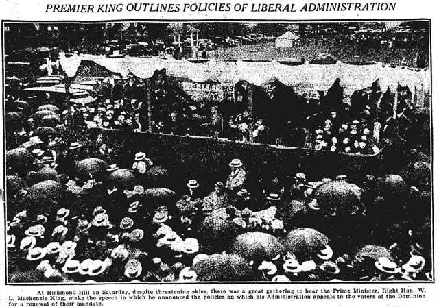 William Lyon Mackenzie King launches the 1925 Liberal campaign in Richmond Hill  The Globe, September 7, 1925